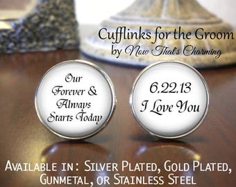 SALE! Groom Cufflinks - Personalized Cufflinks - Gift for Groom - Our Forever & Always Starts Today- Cyber Monday