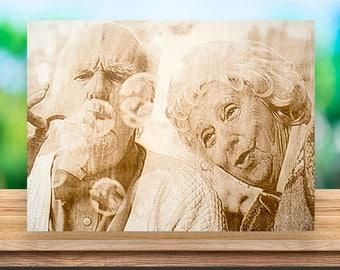 Picture on Wood, Custom Photo on Wood, Rustic Portraits, Distressed Portraits, Reclaimed Wood Photo Transfer, Wood Photo Blocks, photo block
