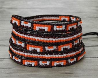 Multi colors Seed bead wrap bracelet BOHO bracelet leather wrap bracelet Gypsy bracelet 5 wraps bracelet yoga bracelet bead jewelry SL-0390