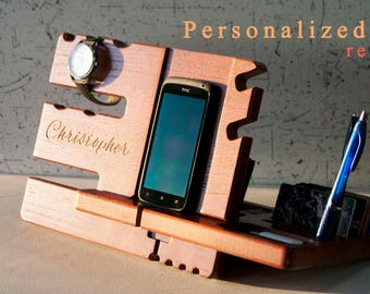 Wooden charging station valet Iphone 7 plus case with stand Best docking station for iphone 7 Bedside iphone holder Charging case