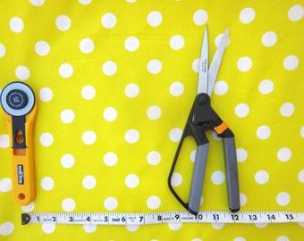 Yellow and White Polka Dot Fabric, Half yard, Cotton Fabric, Quilting Fabric