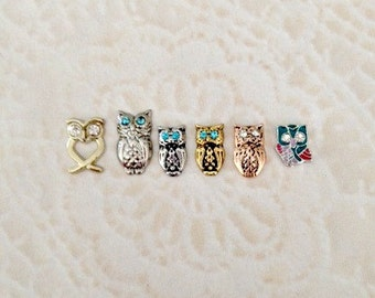 Owls floating charms for memory lockets