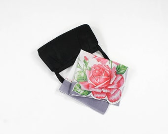 Vintage Hanky - Pink Rose & Gray Border with Tiny Pink Rosebuds - Floral Print - Cotton Handkerchief Flower Bouquet w/ Green Leaves
