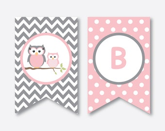 Instant Download, Owl Baby Shower Banner, Baby Sprinkle Banner, Welcome Baby, Owl Printable, Pink Owl Baby Shower, Girl Baby Shower (SBS.44)