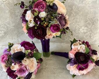 Wedding bouquet,plum purple bridal bouquet,silk wedding flowers,purple bridal flowers,wedding accessory, blush bridal bouquet,vintage