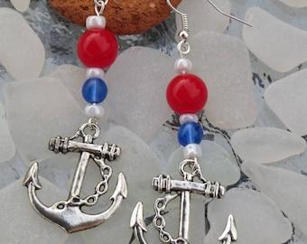 Silver nautical anchor earrings
