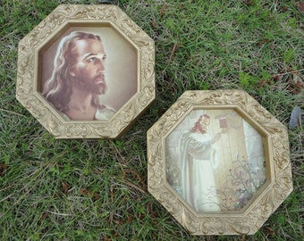 Jesus knocking, Jesus head of Christ by Warner Sallman, pair small framed pictures, framed art, religious art, nursery decor mid century