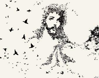 Flock of Birds Jesus Art Print, 11x14, Contemporary Christian Wall Art