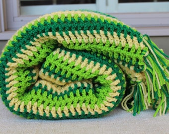 Crocheted Afghan -  Mixed Multi Stripe with Fringe - Vintage Design - Greens and Yellow - Spring Green
