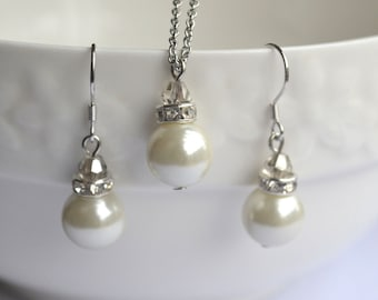 Gray Crystal And Ivory Pearl Set, White Pearl Set, Pearl Necklace Earrings Set, Bridesmaid Gifts,Pearl Pendant Necklace And Dangle Earrings