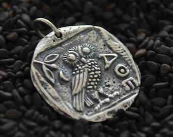 Ancient Athena Owl Coin Necklace - Solid 925 Sterling Silver Charm Pendant - 14K Gold Filled Delicate Chain - Insurance Included