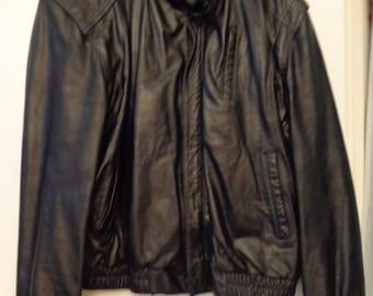 VINTAGE 1980's Men's WILSON Black Leather Jacket (available)
