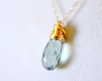 Teal Gemstone Necklace, 14k Gold Filled Chain, Delicate Blue Green Teardrop Quartz Pendant, Dainty Wire Wrapped Stone