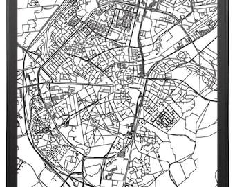 Citymap Assen Netherlands - 60 cm x60 cm - lasercut - Black MDF wood - frame included