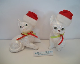 Enesco Christmas White Cat figurines 1988 Retro Holiday Kitten Home Decor