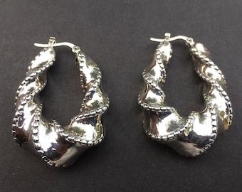 Sterling Silver Hoop Twist Hollow Lever Drop Earrings