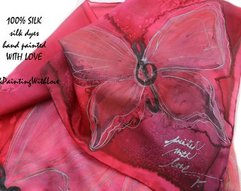 Hand painted scarf. Silk scarf Butterfly scarf raspberry red shawl. gift for teacher musical scarf Emerald green evening wrap Birthday gift.