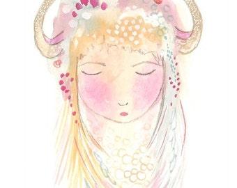 Taurus art print  gouache watercolor illustration artwork