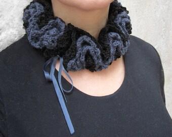 Gothic neck warmer, retro neck wrap, romantic crochet neck ornament, ruche gothic ornament, retro chic scarf, crochet choker, gift for her