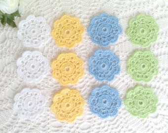 12 Lace Crochet Motifs in spring colors - 2 1/4 inch or 6 cm