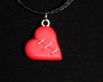 Red Mended Broken Heart Necklace