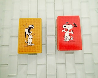 Snoopy Playing Cards - 2 complete decks - Snoopy Peanuts 1970s