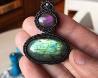 Purple and green Labradorite pendant!