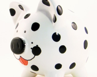 Dalmation Dog Piggy Bank - Personalized Piggy Bank - Puppy Piggy Bank - Spot the Fireman Dog Bank - Cute Baby Gift - with hole or  NO hole