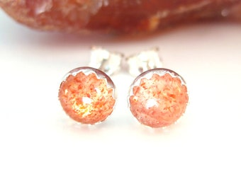 Oregon Sunstone Stud Earrings, Oregon Sunstone Earrings