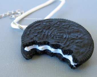 Bitten Oreo Cookie NECKLACE
