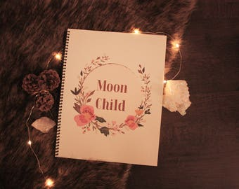 Moon Child Pearly Dot Grid Notebook