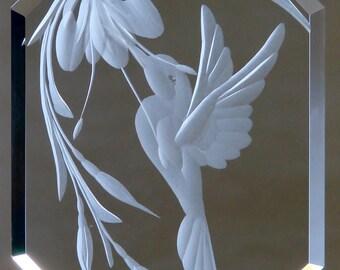 Hummingbird Ornament, Hummingbird Suncatcher, Hummingbird Decor, Glass Hummingbird, Engraved Ornament, Glass Ornament, Bird Ornament