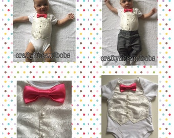 Hand decorated bodysuit, baby boy wedding outfit, baby boy christening, newbaby, birthday, special occasion, baby boy, waistcoat, bow-tie