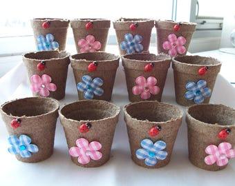 12 Mini pink/blue daisy ladybug favour pots - baby shower party favours - garden partypots - ladybug/flower daisy favours - mini daisy pots
