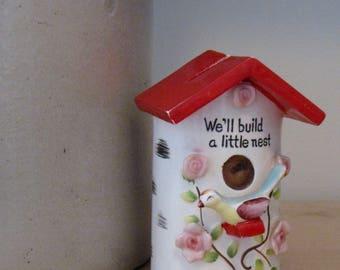 Vintage Ceramic Bird Nest Bank - We'll Build a Little Nest