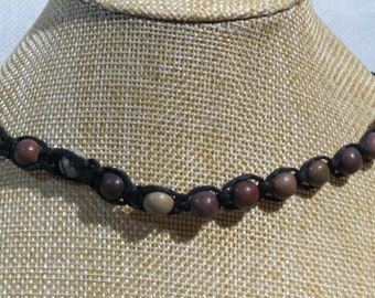 Black knotted hemp with purple creek stone and map stone gemstone beads. Adjustable length necklace.  NECK-512