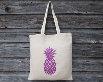 ON SALE - Clearance - Purple Pineapple Tote Bags, Wedding Welcome Bag, Pineapple Tote Bag, Pineapple, Juco Tote Bag, Market Tote, Beach Tote