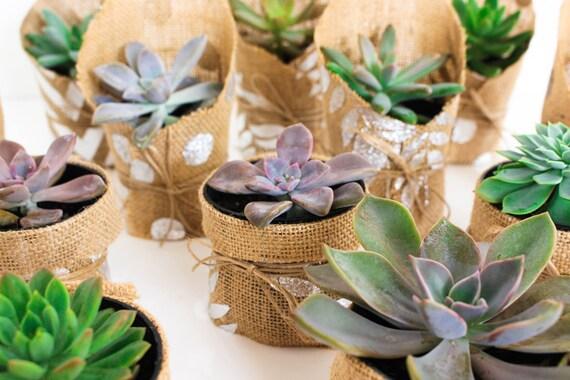 Silver Leaf Hessian Wedding Favour