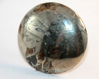 Natural Unikat Simbircitic Geode Cabochon, Ammonite with Silver Glittering Pyrite Geode  49x6mm, 202ct (55)