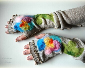 Fingerless Gloves Mittens Arm Warmers Linen Knitted Grey With Unique Felt Flower Appliques Eco Friendly