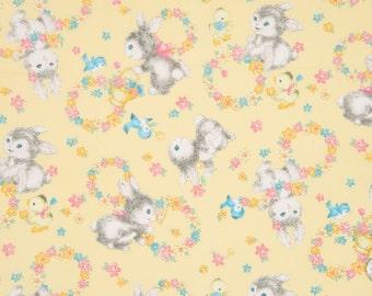 Quiltgate Dear Little World Bunnies Yellow (Half metre)