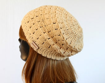Yellow crochet summer slouchy beanie, organic cotton eco friendly hat, women's boho beret,natural material, 100% cotton, wooden tag, sun hat