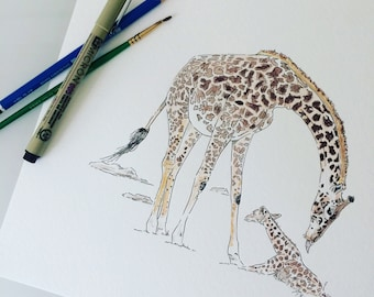 Giraffe Watercolor and Ink