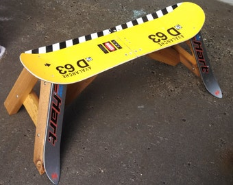 boardBench, an upcycled snowboard bench made of an upcycled snowboard and cedar, is a great add to your ski condo or mountain cabin by upCyD