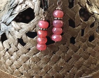 Pink Opal Czech Copper Earrings