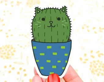 Barrel Cactus, Cat Sticker, Vinyl Decal, Southwestern, Plant Mom, Cat Mom, Mother's Day, Gardening Sticker, Tumbler Decal, Desert Sticker