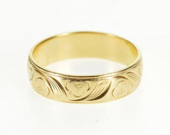 14k Ornate Scroll Patterned Men's Wedding Band Ring Gold