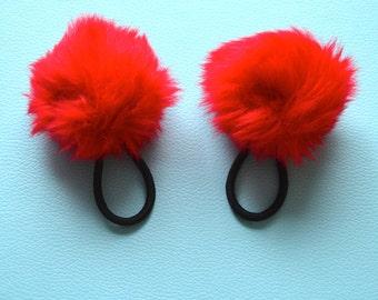 90s vintage red furry hair pom poms x2