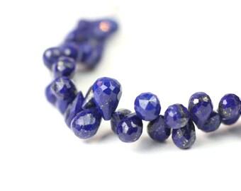 Lapis Lazuli Micro Faceted Teardrop Briolettes 4 Blue Denim Gold Semi Precious Gemstone color shape