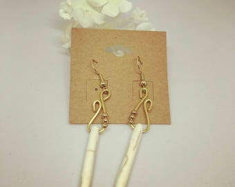Gold and Beige Earrings